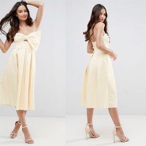 ASOS | Gingham Bow Scuba Plaid Print Midi Dress